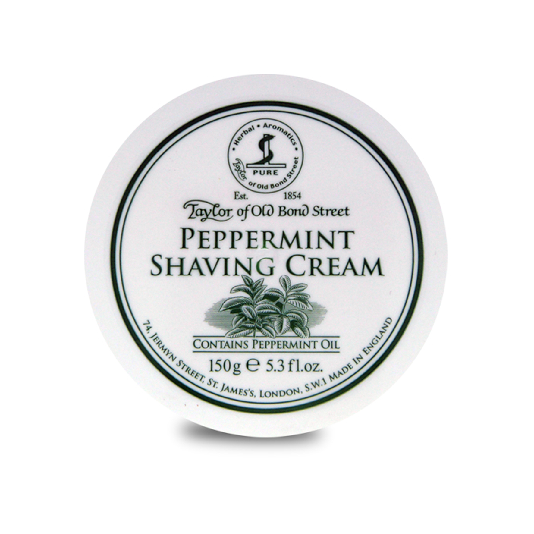 01018 peppermint shave cream 150g - Taylor Of Old Bond Street Peppermint Shaving Cream Bowl 150G - 01018