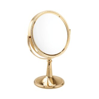 1009 20 gld 1 330x330 - Maddie' 10x Magnification Large Pedestal Mirror In Gold - 100920GLD