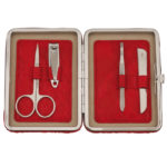 Scrumptious red manicure set in a chrome edged frame