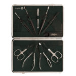 Genuine leather ten piece nickel plated ladies manicure set