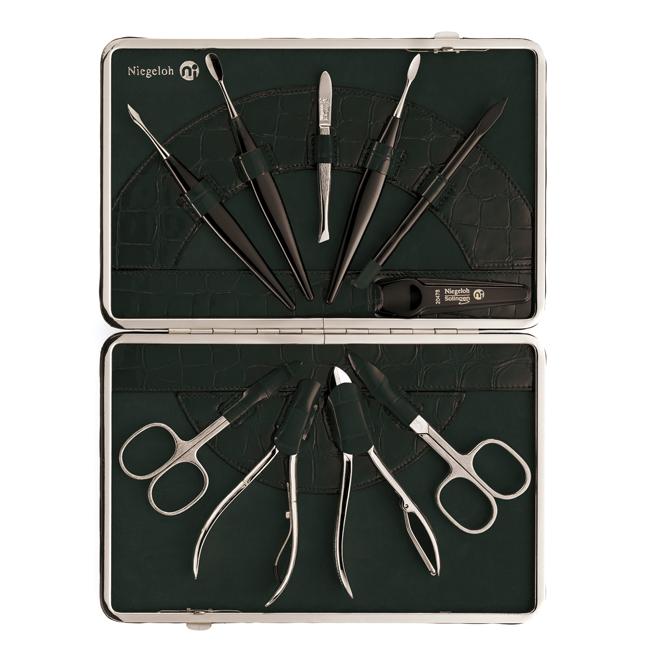 Genuine leather ten piece nickel plated ladies manicure set