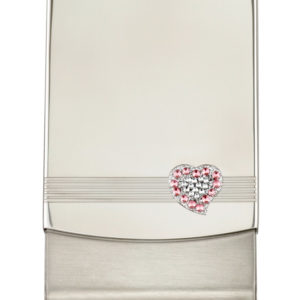 Pink & White Crystal Heart Card Holder - CH154
