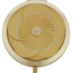 Pretty gold flower design mirror compact with Swarovski elements