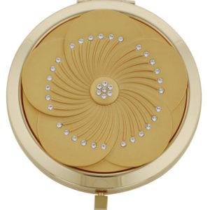 Pretty gold flower design mirror compact with Swarovski elements