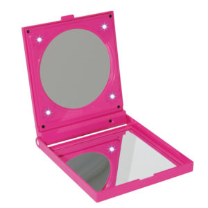 242 Pink LED Open 300x300 - Pink 5x Magnification Perspex Mirror - 242/13PINK