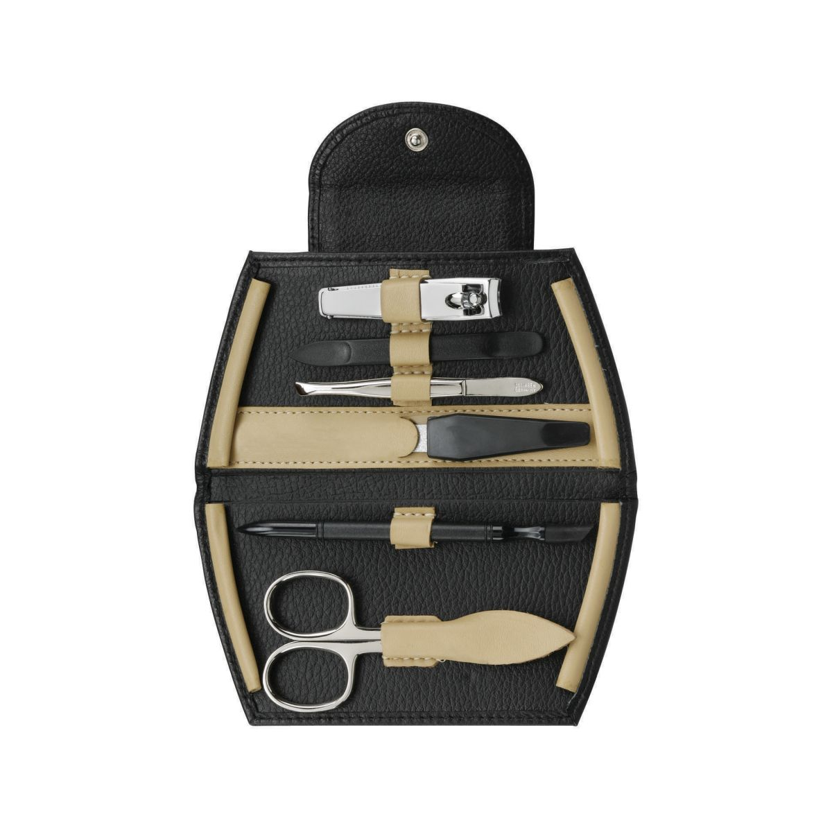 73043 open 2 - Luxurious Black and Cream German Manicure with Precision Solingen Implements - 73043BLK