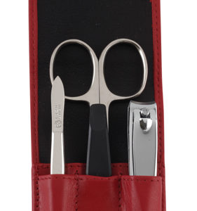 73212 red 2 281x300 - German Leather Manicure with 3 Solingen Implements - 73212RED