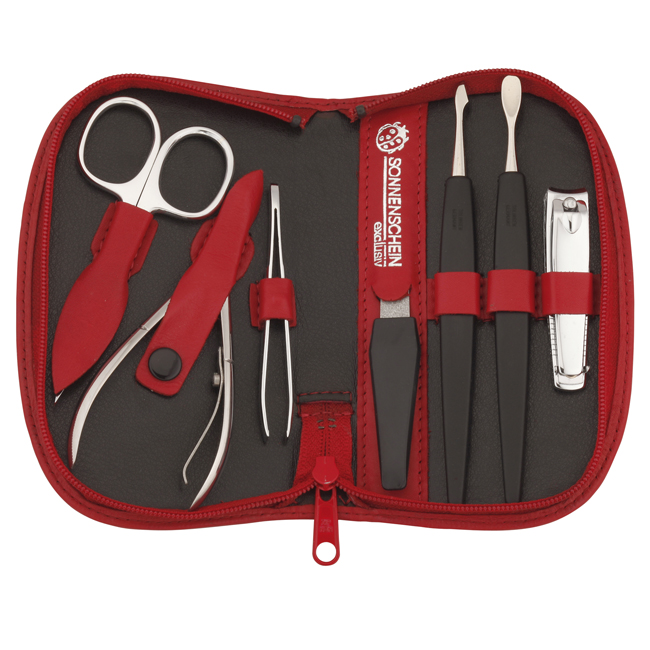 74050 NEW - Chatsworth' Red Seven Piece German Leather Manicure Set with Solingen Precision Crafted Implements - 74050RED