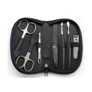 74050 blk 2 300x300 - Chatsworth' Black Seven Piece German Leather Manicure Set with Solingen Precision Crafted Implements - 74050BLK