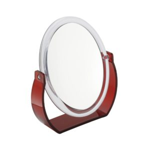 872 red 2 300x300 - Lara' 7x Magnification Oval Mirror In Red - 872RED