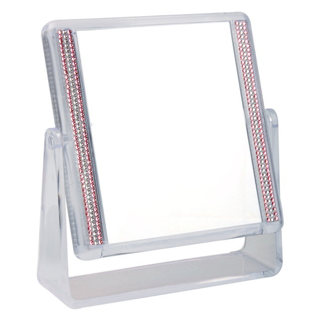 922 16 Pink - Pink & White Stones 5x Magnification Mirror - 922/16PINK
