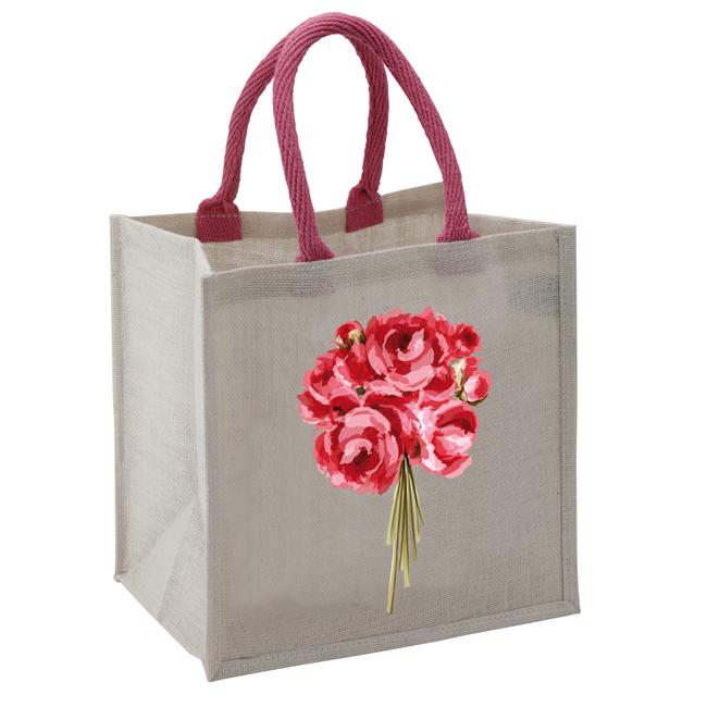 B 2007 Jute GB peonies - Flower Posy Jute Bag - B2007