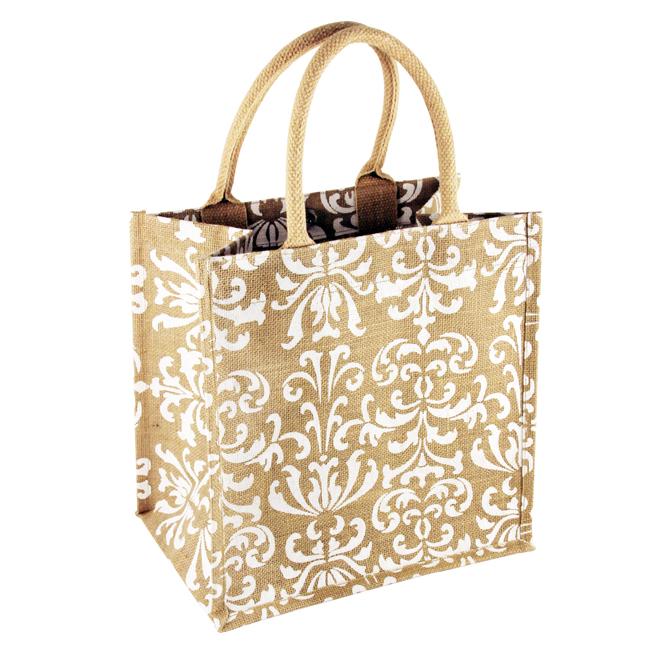 B 2012 Jute S white - Damask Natural/White Print Jute Bag - B2012