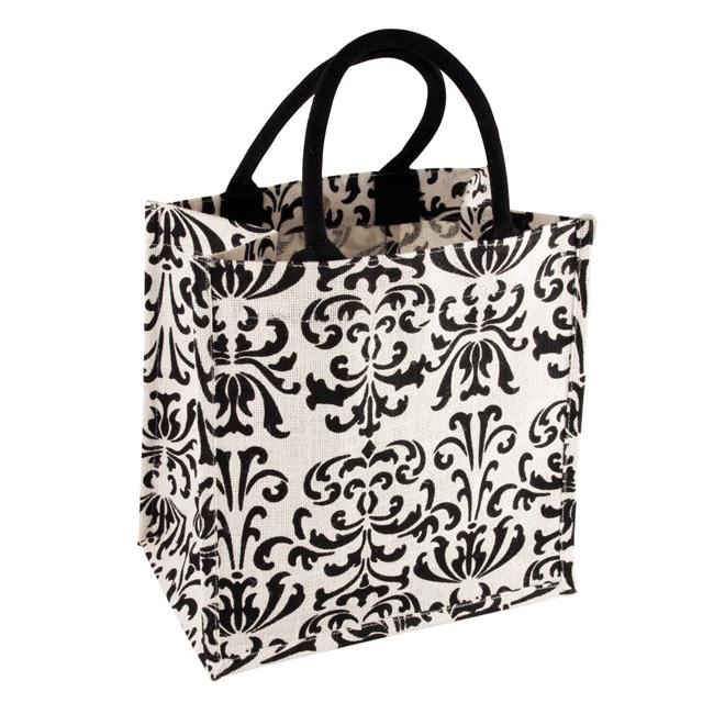 B 2013 JuteS black - Damask White/Black Print Jute Bag - B2013