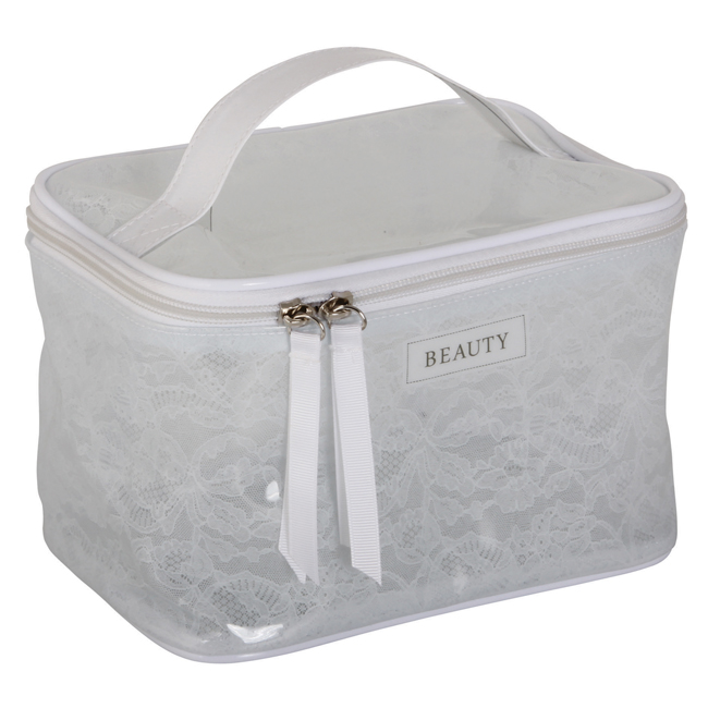 B 2200 Lace White Square - White Lace Cosmetic Bag - B2200