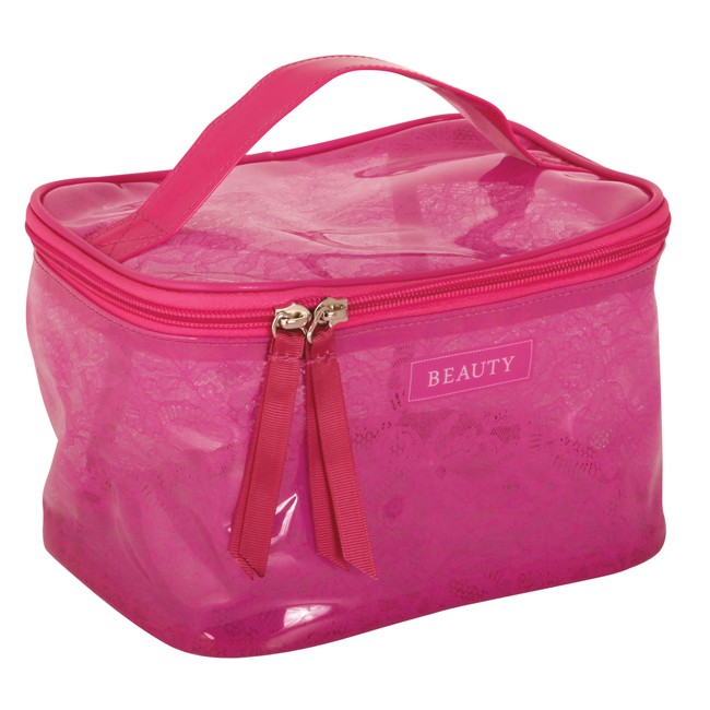 B 2202 Lace Pink Square - Pink Lace Cosmetic Bag - B2202