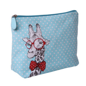 B 2302 Giraffe 300x300 - Giraffe with Red Glasses, Cosmetic Bag - B2302