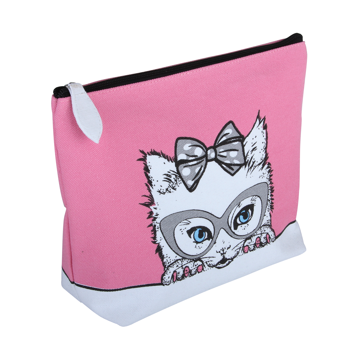 Cutie' Cat Canvas Cosmetic Bag - B2313