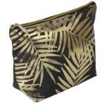 Black Velvet With Gold Foil Palm Leaves Cosmetic Bag