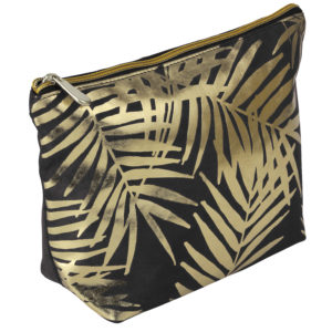 Black Velvet With Gold Foil Palm Leaves Cosmetic Bag