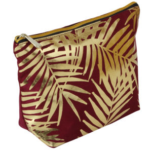 Burgundy Velvet With Gold Foil Palm Leaves Cosmetic Bag