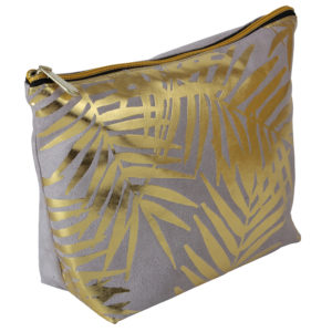 Grey Velvet With Gold Foil Palm Leaves Cosmetic Bag