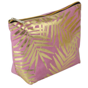 Pink Velvet With Gold Foil Palm Leaves Cosmetic Bag