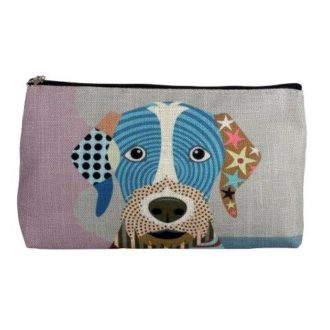 Linen Cosmetic Bag, Dog - B8348