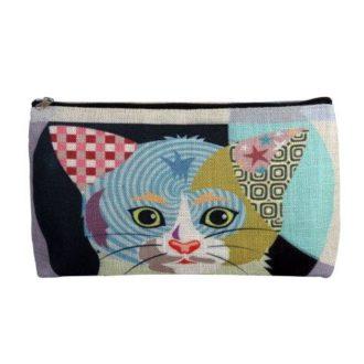 Linen Cosmetic Bag, Cat - B8349