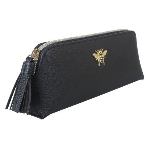 B8368 1 - Black make up & brush case with Bee - B8368