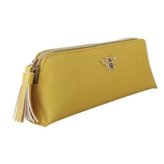 B8369 1 330x330 - Mustard make up & brush case with Bee - B8369