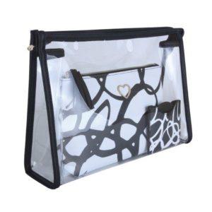 B8372 1 300x300 - Black - set of 3, 2 beauty bags & mirror - B8372