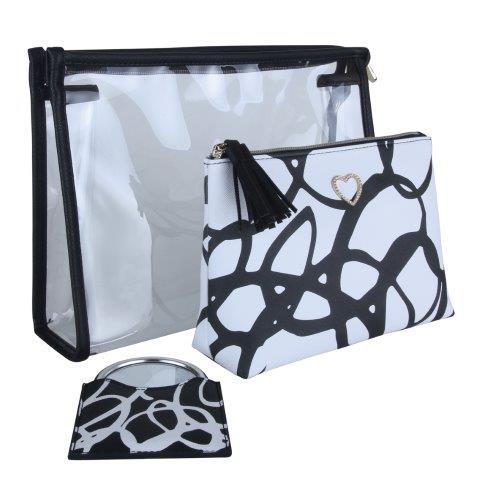 B8372 2 - Black - set of 3, 2 beauty bags & mirror - B8372