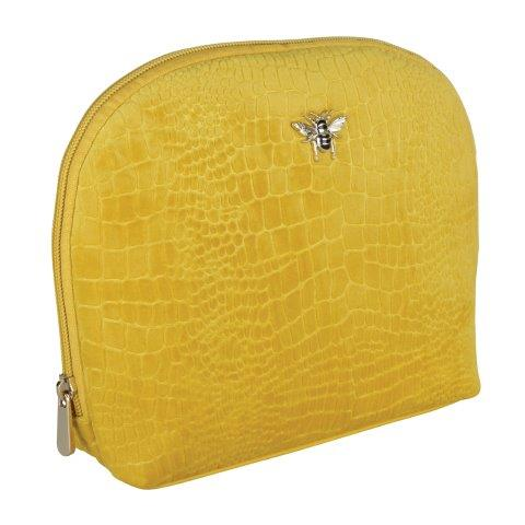 B8395 1 - Mustard - Velvet beauty case - large - B8395
