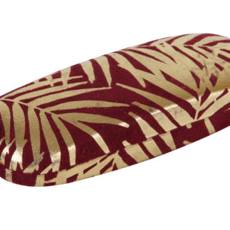 Burgundy Velvet With Gold Foil Palm Leaves Glasses Case