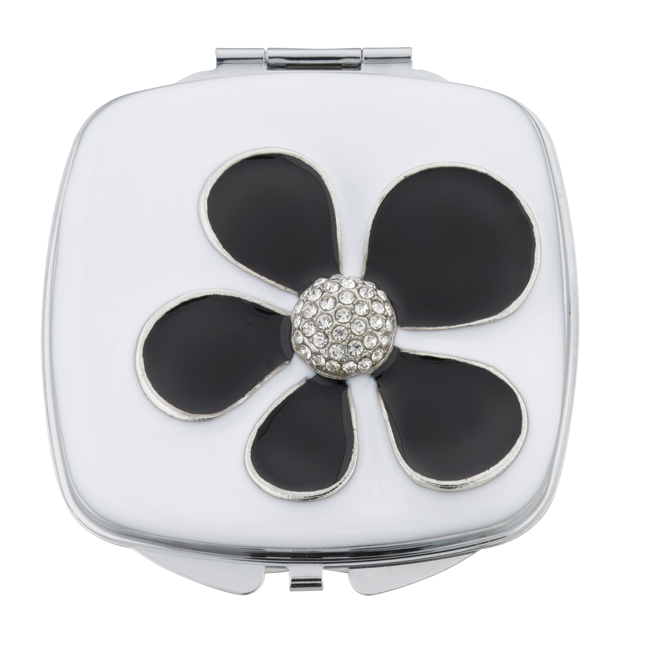 MC 241 - Crystal Mirror Compact 'Black Daisy'- MC241
