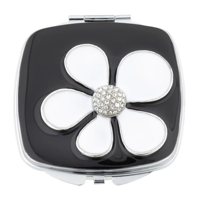 MC 242 - Crystal Mirror Compact 'White Daisy' - MC242