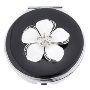 MC 244 300x300 - Black Mirror Compact with Crystal Encrusted White Lilly - MC244