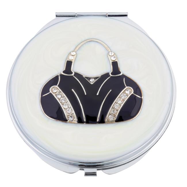 MC 250 - Crystal Mirror Compact 'Black Handbag' - MC250