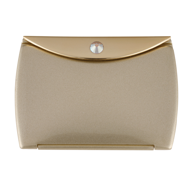 Gold Mirror Compact Envelope 3x Mag with Swarovski Crystal Elements