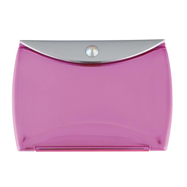 Metallic Pink Mirror Compact Envelope 3x Mag with Swarovski Crystal Elements