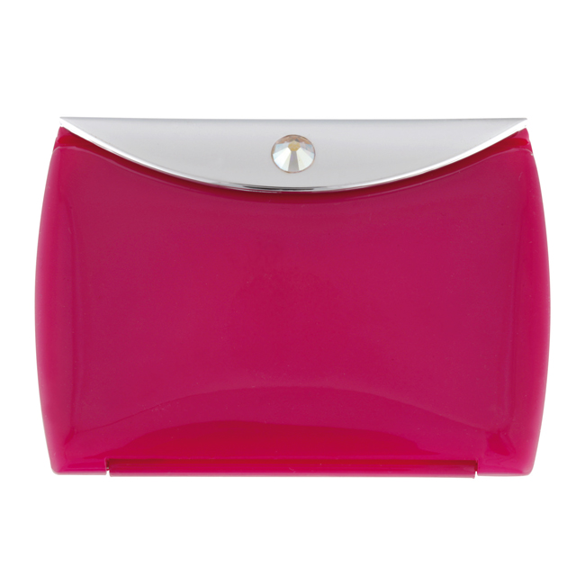 Pink Mirror Compact Envelope 3x Mag with Swarovski Crystal Elements