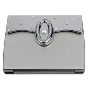 MC 335 Silver PC 300x300 - 7x Magnification Mirror Compact with Pearl and Swarvoski Elements - MC335SILVER