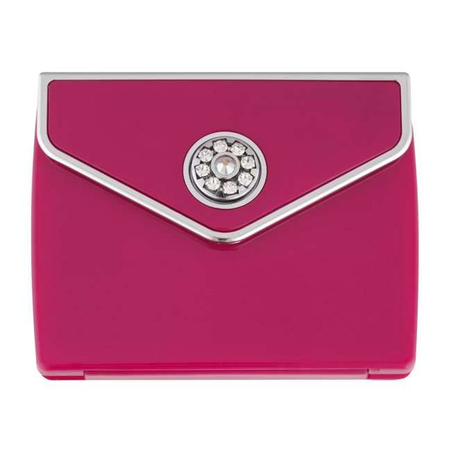 MC 336 PINK - Tri Fold Envelope 5x Magnification Mirror Compact with Swarovski Crystal Elements - MC336PINK