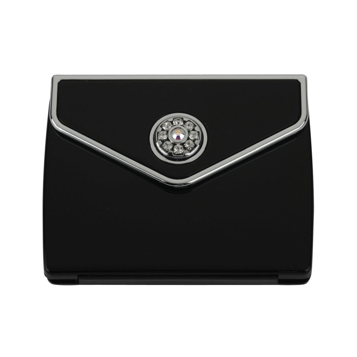 MC 336 blk - Tri Fold Envelope 5x Mirror Compact with Swarovski Crystal Elements - MC336SBLK