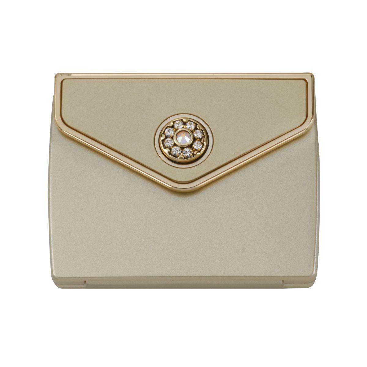 MC 336 gld - Tri Fold Envelope 5x Mirror Compact with Swarovski Crystal Elements - MC336GOLD