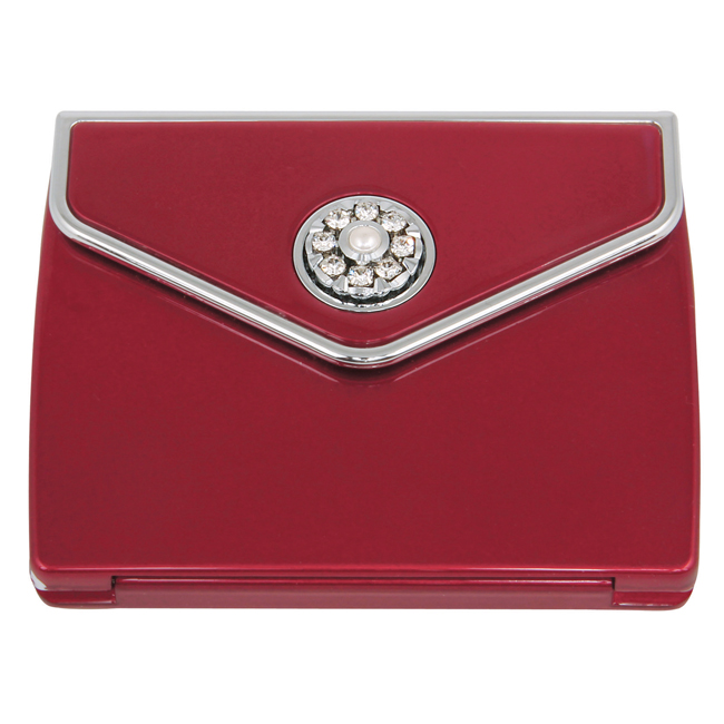 MC 337 Ruby PC - 5x Magnification Mirror Compact with Swarovski Crystal Elements - MC337RUBY