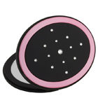 MC 356 BP open 140x150 - Mirror Compact with Swarovski Crystal Elements Black/Pink - MC356BP