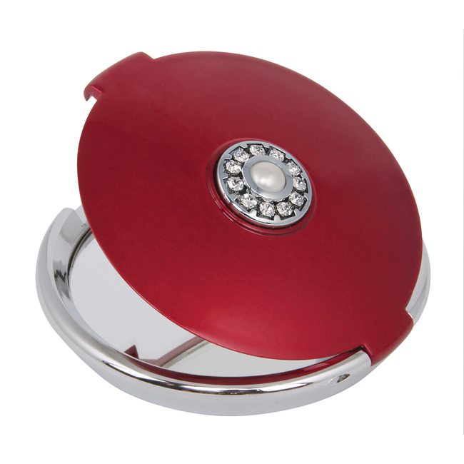MC 882 Ruby with Pearl - 5x Magnification Mirror Compact with Pearl and Swarvoski Elements - MC882RUBY