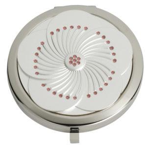 MC233 300x300 - White Flower with Light Rose Swarovski Crystal Mirror Compact - MC233
